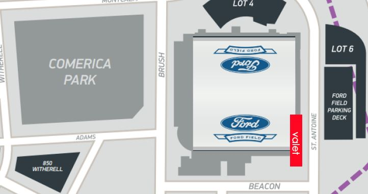 Ford Field Valet Map