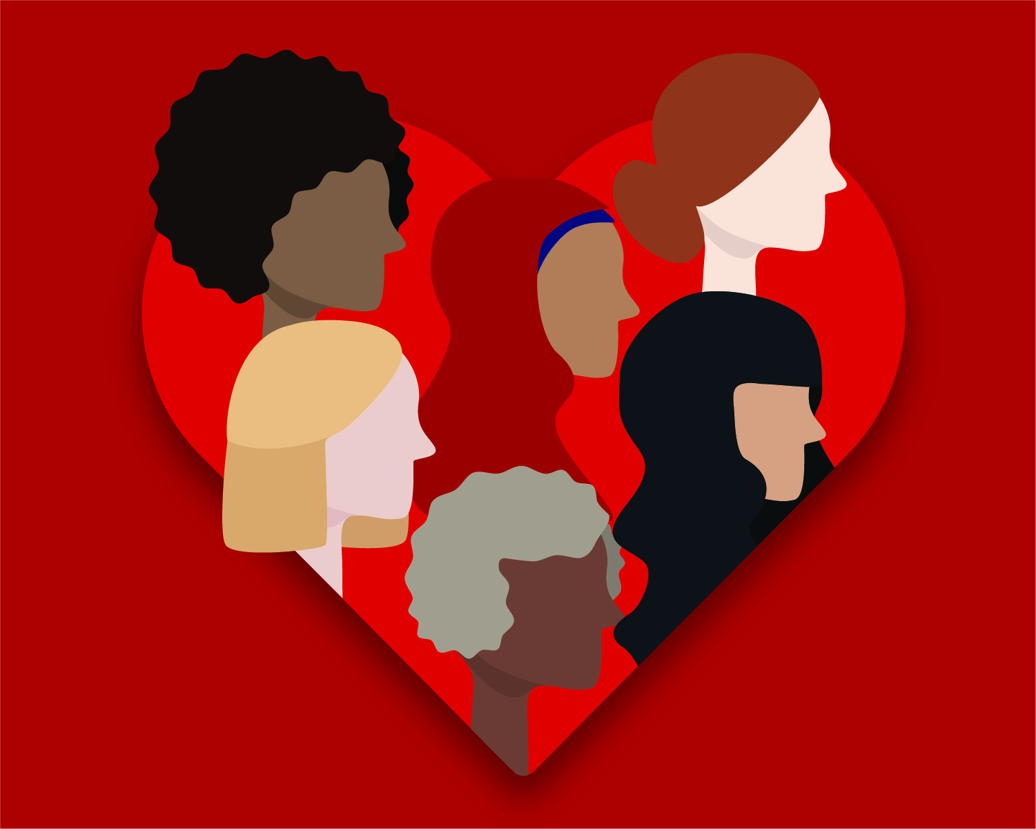 Women's faces in a heart graphic